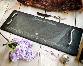 Personalised Slate Serving Tray/Cheese Board -50x17cm - With Any Message - The Perfect Anniversary, Wedding or Christmas Gift