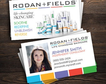 """Rodan and Fields Business Cards with Photo (PRINTED), R+F Consultant - 2"""" x 3.5"""", Custom Info, FREE SHIP"""
