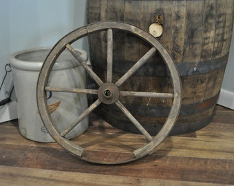 Vintage Wooden Wagon Cart Wheel