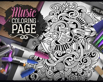 MUSIC Digital Coloring Page, Adult Coloring, Musical Doodles Art, Printable, Coloring sheet, Ethnic Illustration, Art Therapy, Download