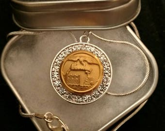 Essayons / Army Corps of Engineers Small Button Pendant Necklace