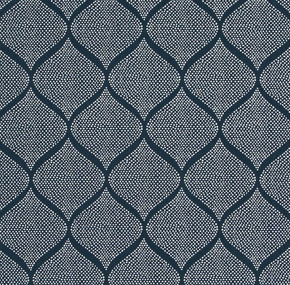 Navy Blue Trellis Upholstery Fabric Blue Moroccan Tile
