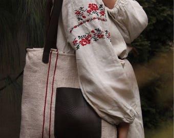 Vintage fabric tote bag.Hand sewn ethno grain sack. Large tote bag. European grain sack bag. Linen tote bag. Vintage bag