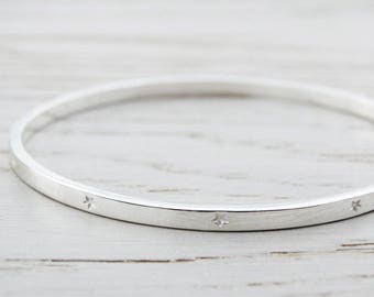Silver Bangle With Tiny Stars - Sterling Silver