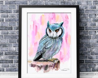 Owl watercolor print, owl wall art, horned owl painting, owl poster, owl home decor, horned owl illustration, gray pink owl art