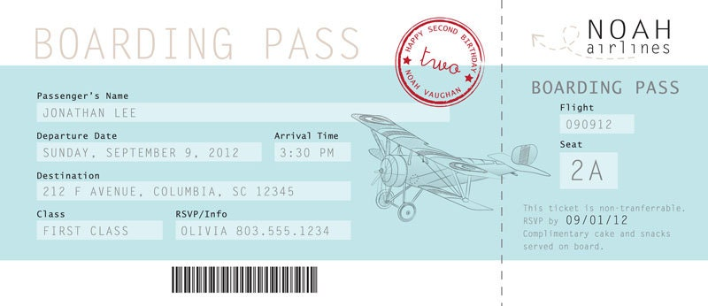Boarding Pass Birthday Invitation