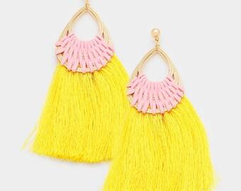 Yellow & Pink Tassel Earrings
