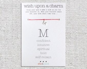 LETTER M - Silver//Gold Initial Charm Wish Bracelet - Choose Your Own Hemp Color