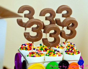Gourmet Chocolate Number Lollipops (2 Count) ---As Seen On Amy Atlas---