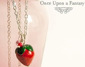 Necklace Strawberry and two small beads