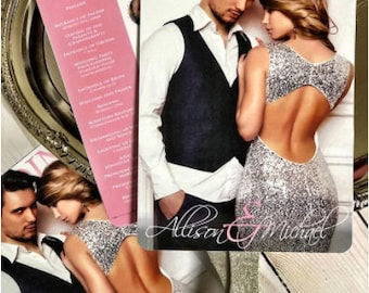 Wedding Program Fans/ silver handle/ photo prgram