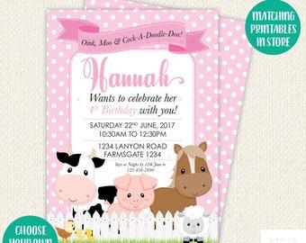Farm Birthday Invitation, Farm Birthday Party, Farm Party invitations, farm invitation, printable invitations, barnyard invitation, barnyard