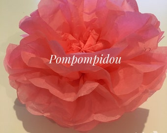 Pack of 2 PomPoms, salmon-pink color