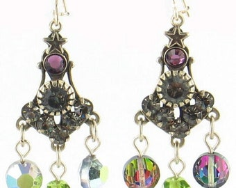 Vintage  Rhinestones  & Heliotrope AB Swarovski I Purple Bead Dangle Earrings