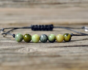 Chrysoprase Yoga Bracelet, Heart Chakra, Sacral Chakra, Gemstone Therapy, Meditation Bracelet, Wish Bracelet