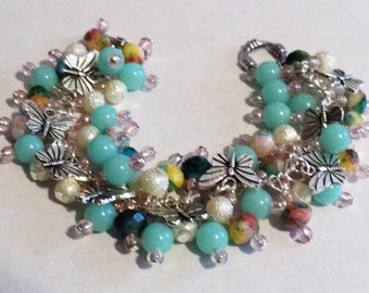 Butterfly Charm Bracelet, Butterfly Bracelet, Spring Charm Bracelet, Spring Butterfly Bracelet, Gift For Her, Turquoise, - Butterflies