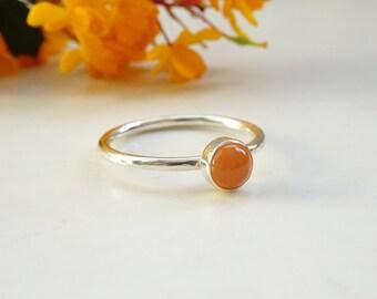 Silver Carnelian Ring - Orange Stone Ring -  Silver Stacking Ring - Sterling Silver Carnelian Ring - Gemstone Stacking Ring