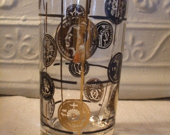 Glassware Mid Century High Ball Set of Four Gold and Black Coins Barware New Years