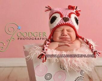 Sweetheart Owl earflap hat - infant, toddler, & kids