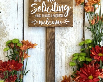 No Soliciting Sign with Stake 6x8, Do Not Disturb Sign, No Solicitation Sign, Welcome Sign, No Strangers Sign, Do Not Disturb