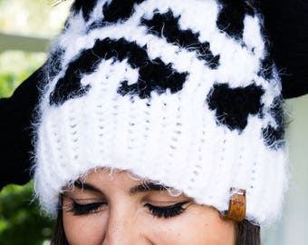 Snow Leopard Luxe Hat with Faux Fur Pom | Leopard Print Beanie Hat | Knit Hat with Pom | Christmas Gift for Girl