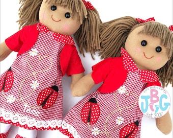Personalised Rag Doll, Ladybird Doll, Custom Rag Dolls, Embroidered Dolls, New baby girls gift, birthday or baby shower gift, baby girl