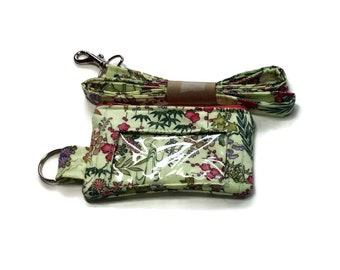 Lanyard  Wallet, Badge Wallet, Lanyard, ID Wallet, Key Ring Pink Green Flowers