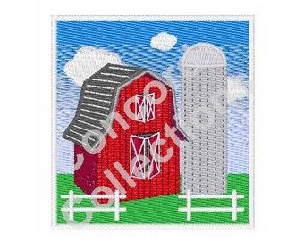 Barn and Silo Machine Embroidery Design