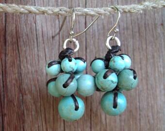 Turquoise earrings,Stone earrings,dangle earrings,blue earrings