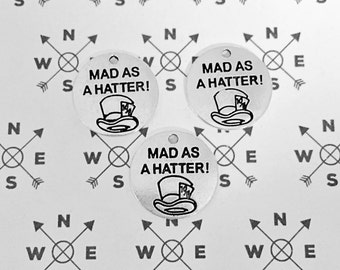 Mad Hatter Antique Silver Charm.. Mad As A Hatter.. Quantity Options