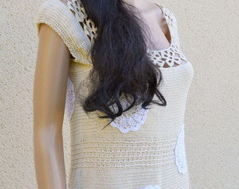 Vintage style dress in beige cotton. single model. To order only.