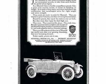 Original 1900 Maxwell Car Ad Custom Made Cars  Open Touring Car Ad Not a Reproduction Car Collector Frameable Ad Fathers Day Prop Display