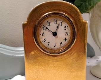 1900's, O & EG Royal Austria Porcelain Clock, Gold Plated