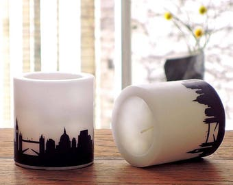 LONDON candles, skyline in plum, hostess gift, house-warming party, 2 lampion London city print, gift for London travel, Honeymoon in London