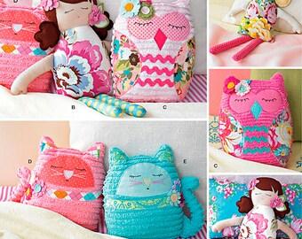 "Simplicity Sewing Pattern 1342 17"" Stuffed Dolls and 9"" Stuffed Animals"