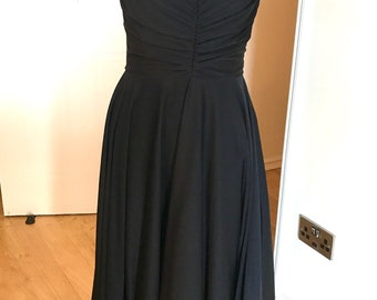 70s black disco party dress full circle skirt maxi ruched strappy