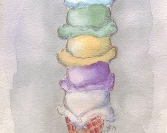 Ice Cream Watercolor Painting - Five Scoops Cone Watercolor Art Print, 5x7 Print