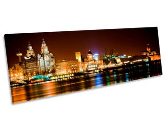 Liverpool City Skyline CANVAS WALL ART Panoramic Framed Print