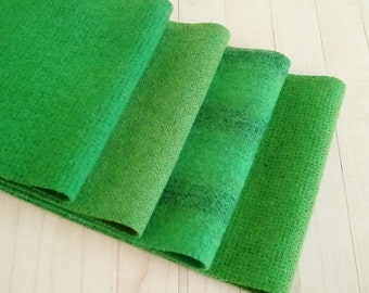 """Hand Dyed Felted Wool, LEAF v.2 , Four 6.5"""" x 16"""" pieces in Medium Green, Perfect for Rug Hooking, Applique', and Crafts"""
