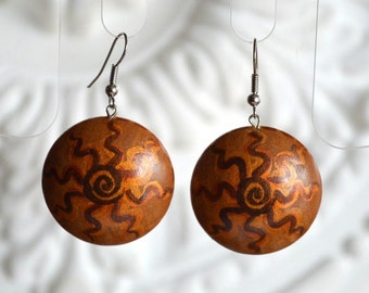 hippie sun jewelry gift|for|her rustic wood gifts|for|mom gift women gift|for|wife rustic wedding ethnic earrings golden brown natural look
