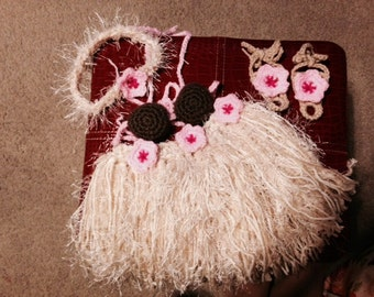Baby Girl or Toddler Hawaiian HULA Set w Barefoot Sandals Photo Prop Grass Skirt Coconut Bra Headband Sandals - Made to Order