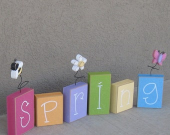 SPRING BLOCK SET for shelf, mantle, office, seasons, home, and holiday decor.