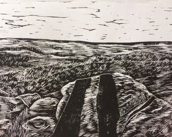 Yorkshire Cow and Calf lino print