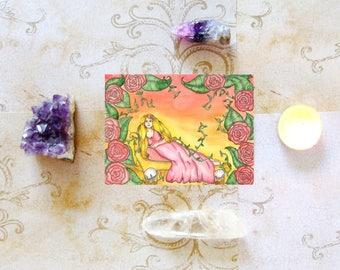 Fantasy Art Goddess Aphrodite Prayer Card Goddess Art Pagan Art Greek Goddess Mythology Divine Sacred Feminine Art Spiritual Art Altar
