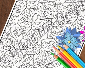 Endless Flower Coloring Page, Lotus Coloring Page, Adult Coloring Page