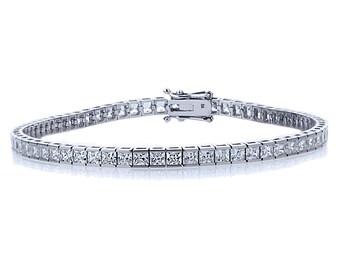 2.5mm 14K White Gold 6.8 ct Princess Cubic CZ Channel Set Tennis Bracelet 7.25in(CLB006SQ25-WG)
