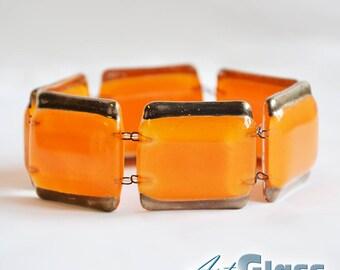 Bracelet handmade painted orange with platinum