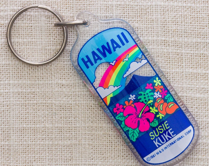 Hawaii Vintage Keychain Name Key Chain Susie Kuke 1987 Rainbow Hibiscus Flowers Key FOB Key Chain 7KC