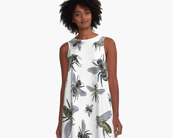 Honey Bees A-Line Dress XS S M L XL 2XL Insect Science Nature Art Insect Swing Trapeze Dress  Woman Teen Wearable Art Clothing