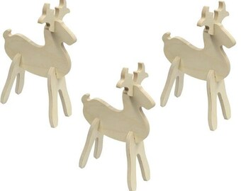 Christmas Craft Kit, Kids Craft Kit, Christmas Reindeer Decoration, Set of 3 Wooden Reindeer